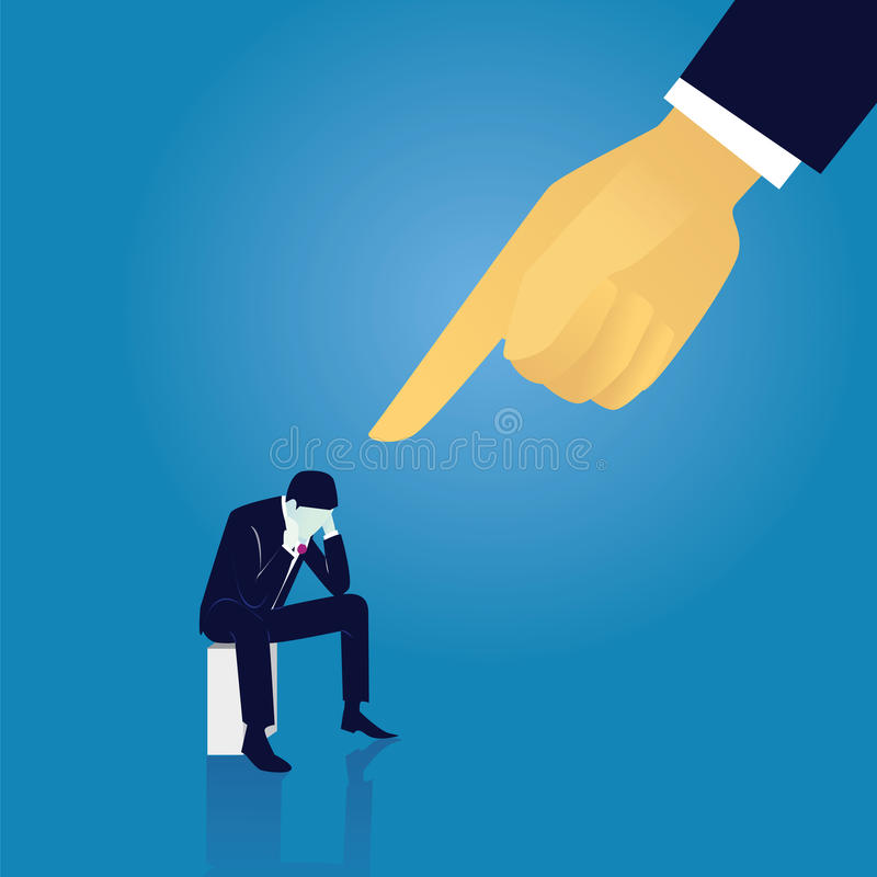 Business Failure Guilty Businessman Concept. Vector illustration. Business failure guilty concept. Businessman frustrated sad down thinking of his fault, sitting vector illustration