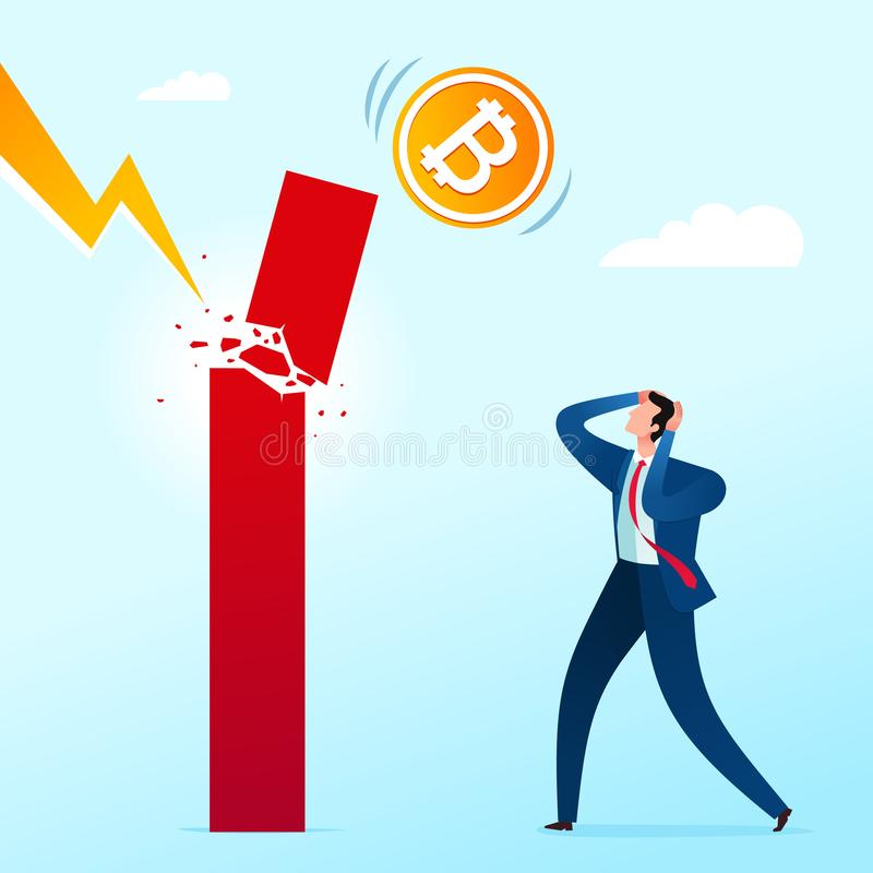 Business failure shock. Businessman get shocked because of business failure. Business concept vector illustration stock illustration