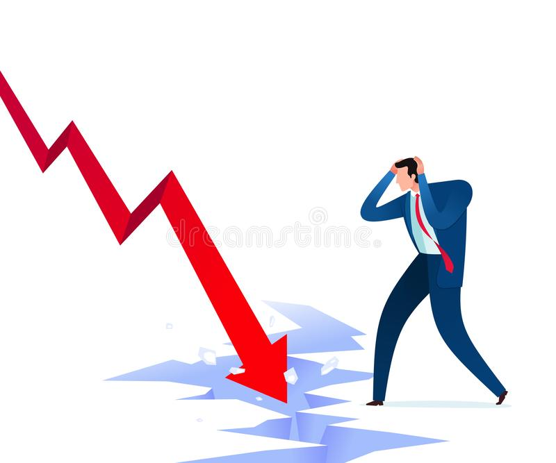 Business failure shock. Businessman get shocked because of business failure. Business concept vector illustration vector illustration