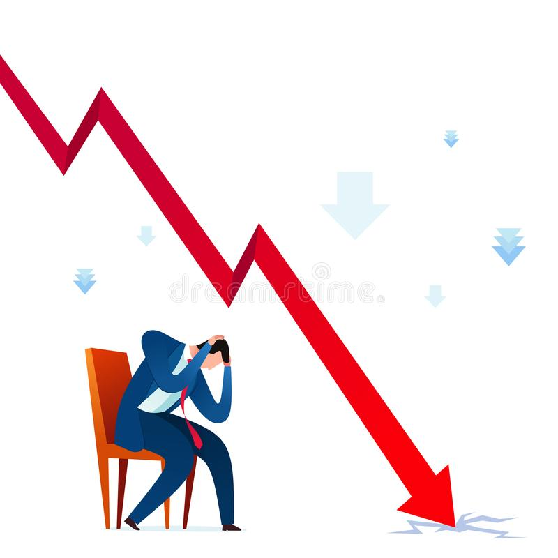Business failure stress. Businessman get depressed because of business failure. Business concept vector illustration stock illustration