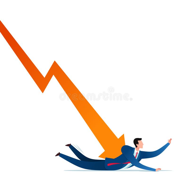 Business failure stress. Businessman get depressed because of business failure. Business concept vector illustration vector illustration