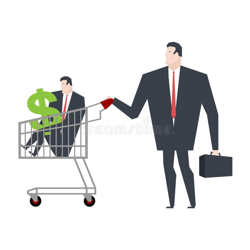 Business family in store go shopping. Manager in cart. Vector il stock illustration