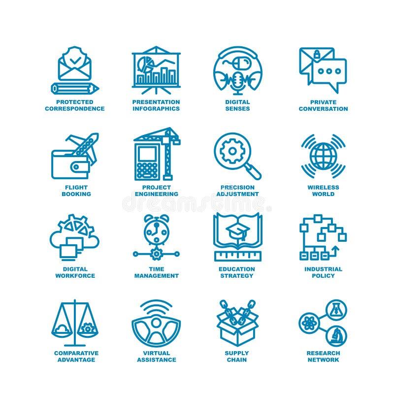 Business Fat Line Icon set vector illustration
