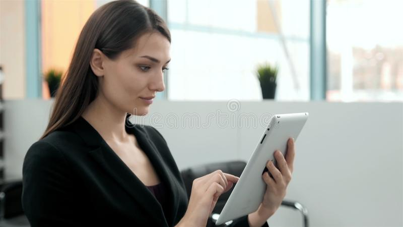 Business female tablet technology city traveller tourism investment, arab woman in modern office consultant with tablet. Arab Gulf business female tablet royalty free stock photography