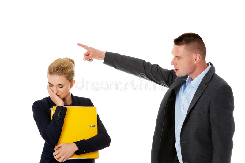 Business fight concept. Business people have conflict royalty free stock image