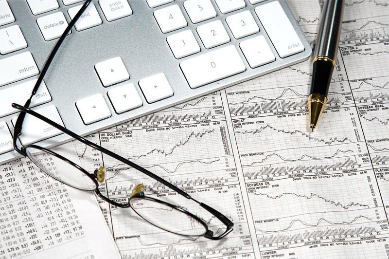 Business Finance. Graphs of a working capitalist stock photo