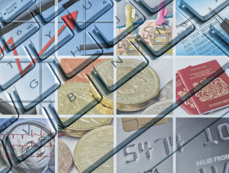 Business and finance. Computer keyboard overlaid with images relating to business and finance stock illustration