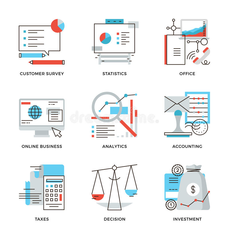 Business and finance accounting line icons set vector illustration