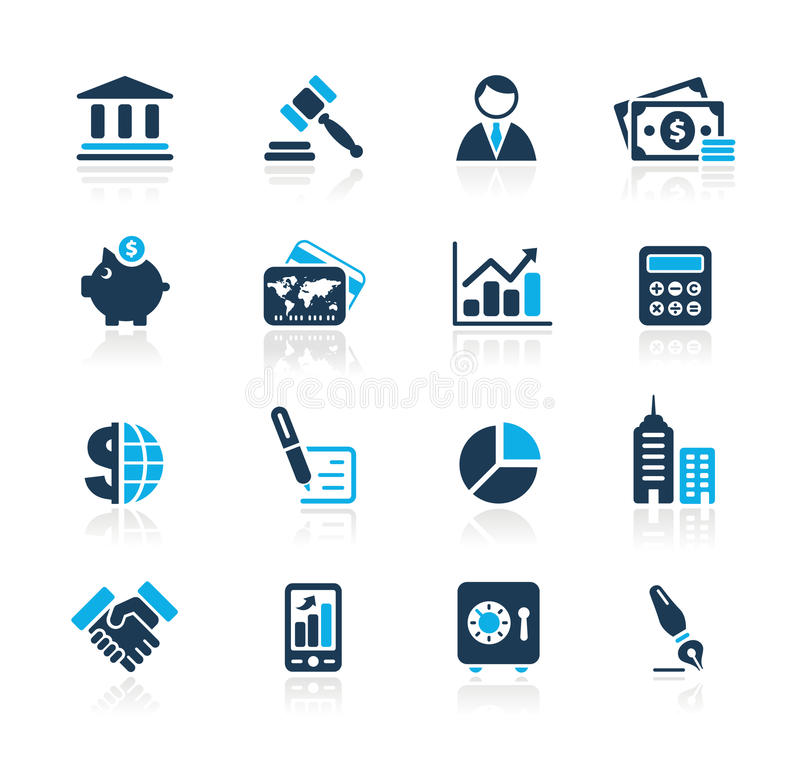 Business & Finance // Azure Series. Set of decorative blue icons isolated on white background for your business projects. Vector file in EPS 8 file format