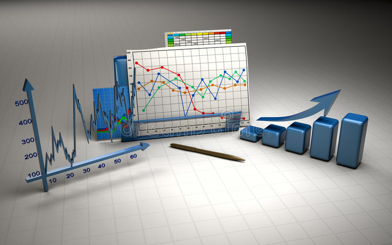Business finance chart, diagram, bar, graphic royalty free illustration