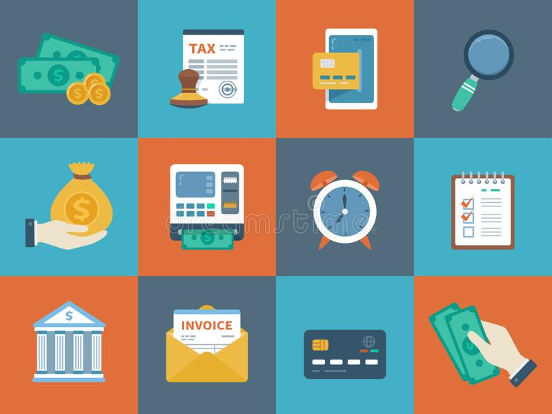 Business finance colorful collection of icons. Banking, tax, money, counting, payment. Conceptual promo and advertising icons set vector illustration