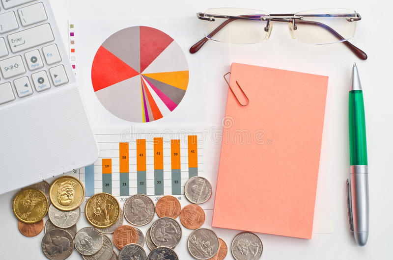 Business finance concept. With dollars and graphs royalty free stock photo