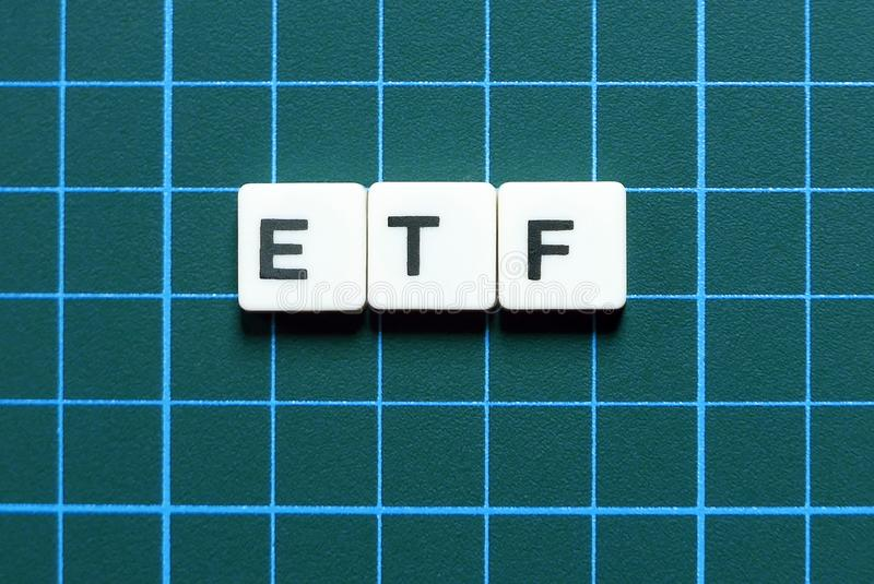 Business and finance concept. ETF(Exchange Traded Fund) letter on green background. Business and finance concept. ETF(Exchange Traded Fund) stock photo