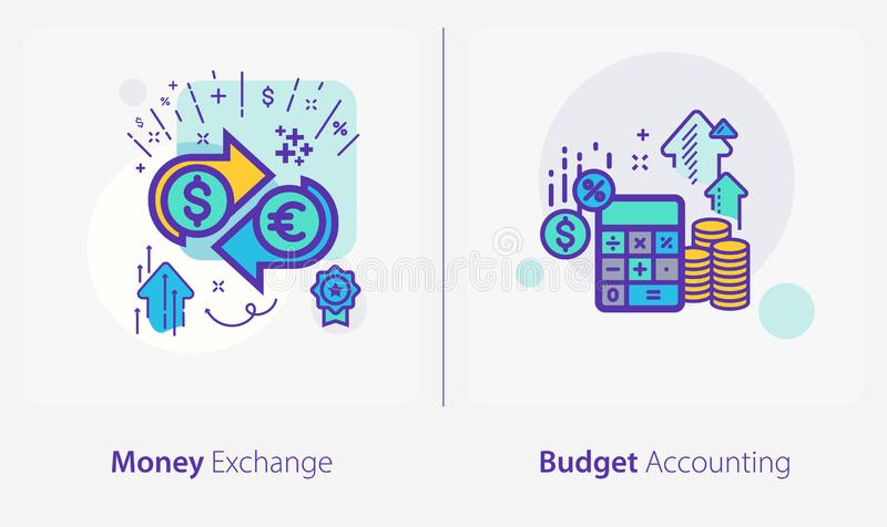 Business and Finance Concept Icons, Money Exchange, Budget Accounting royalty-vrije illustratie