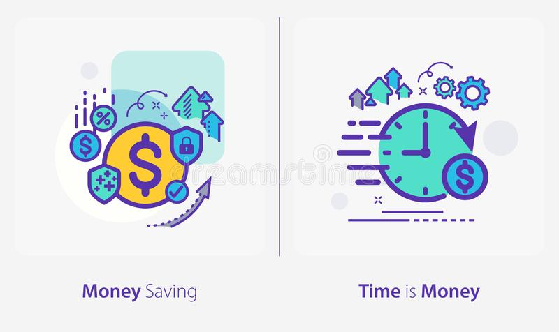 Business and Finance Concept Icons, Money Saving, Time is Money royalty-vrije illustratie