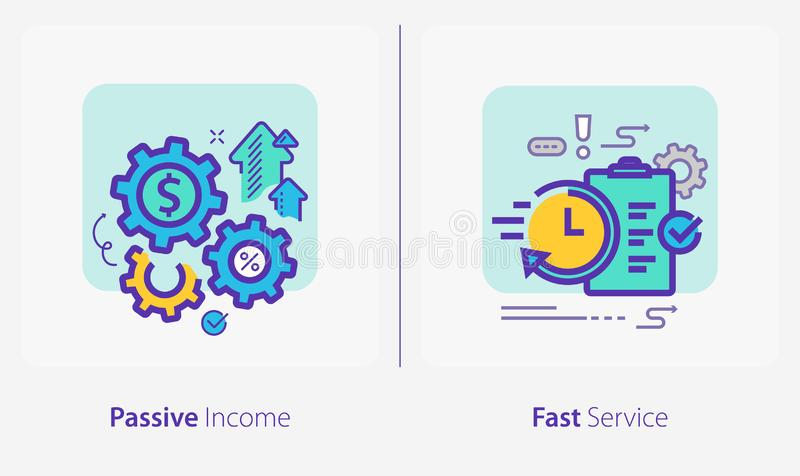 Business and Finance Concept Icons, Passive Inkomen, Snelle Dienst stock illustratie