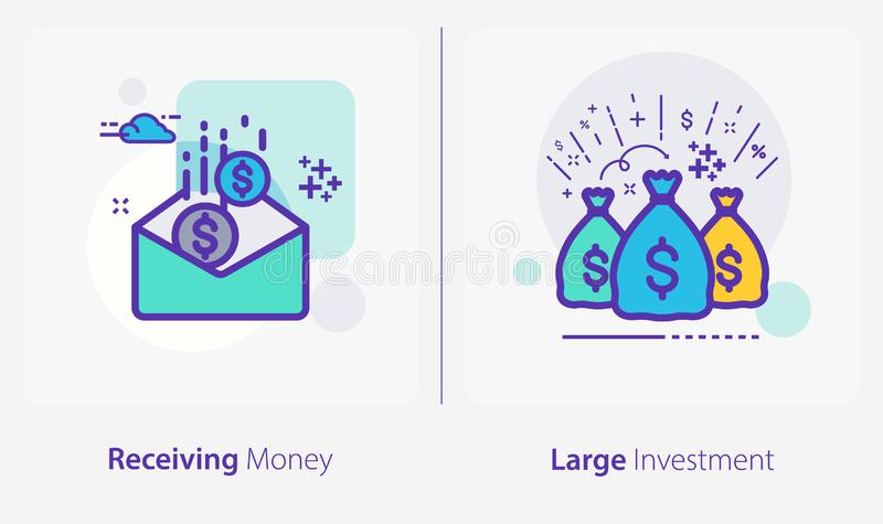 Business and Finance Concept Icons, Receiving Money, Large Investment stock illustratie