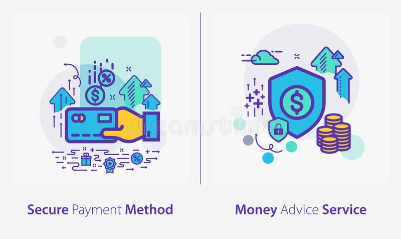 Business and Finance Concept Icons, Secure Payment Method, Money Advice Service royalty-vrije illustratie