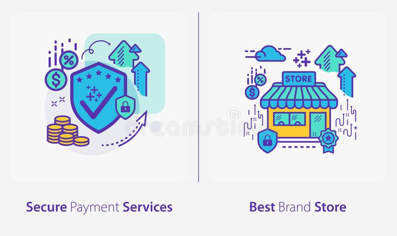 Business and Finance Concept Icons, Secure Payment Services, Best Brand Store stock illustratie