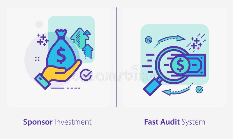 Business and Finance Concept Icons, Sponsor Investment, Fast Audit System royalty-vrije illustratie