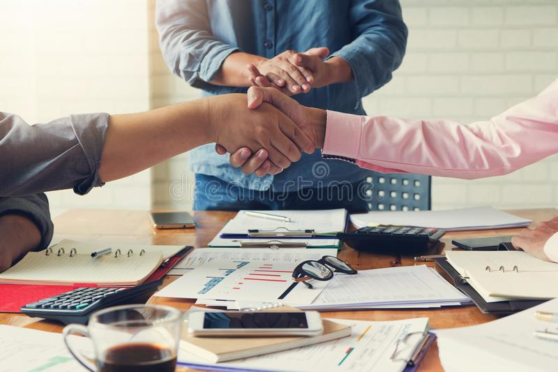 Business and finance concept of office working, Businessmans shaking hands in meeting room after meeting.  royalty free stock photos