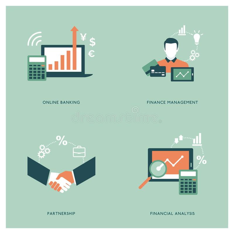 Business and finance concepts. Business, finance, agreements and accounting concepts with icons and tools vector illustration