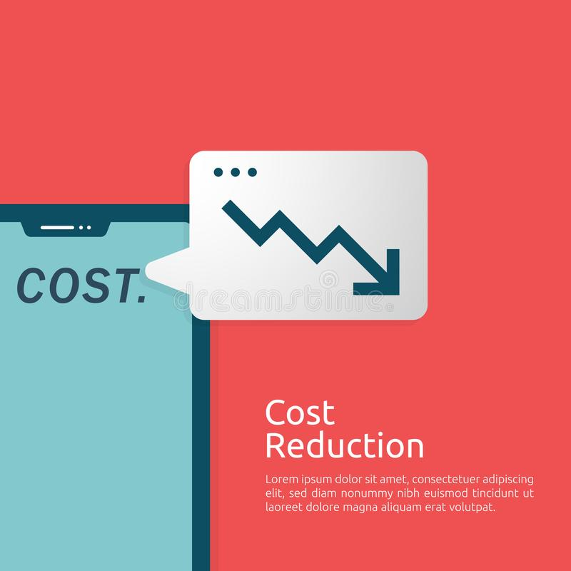 business finance crisis concept. cost reduction management. arrow line decrease money graph fall down symbol. economy stretching royalty free illustration