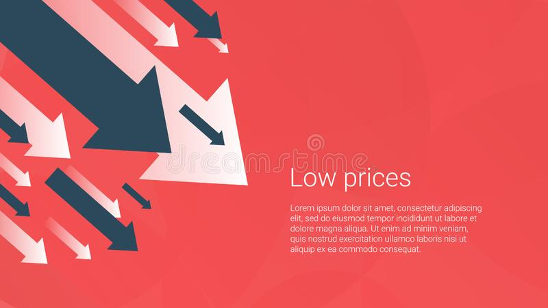 Business finance crisis concept, low sales. Money fall down symbol. Arrow decrease economy stretching rising drop. Lost crisis royalty free illustration