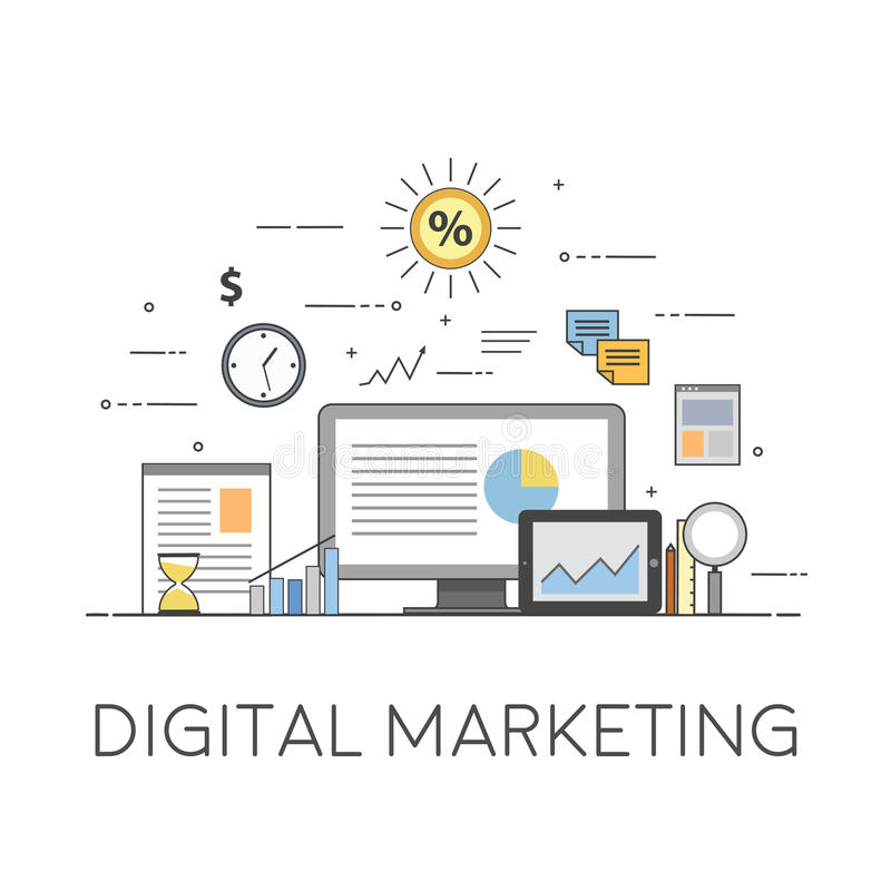 Business and Finance. Digital technologies. Digital marketing. Charts and reports vector illustration