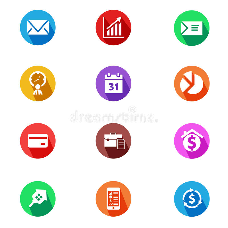 Business and finance flat design icons set. Set of 12 circle flat design icons for business, finance, management activities with long shadow on white background vector illustration