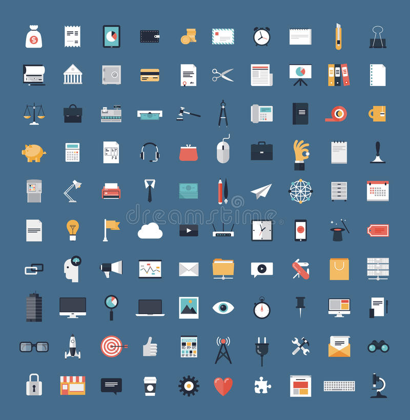 Business and finance flat icons big set vector illustration
