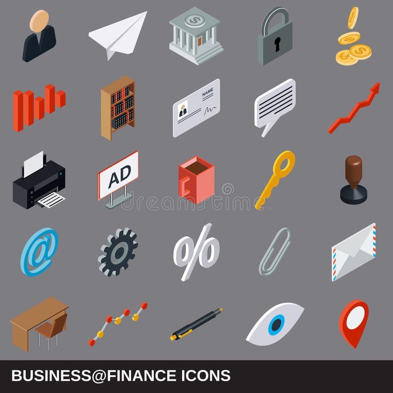 Business and finance flat isometric icons royalty free illustration