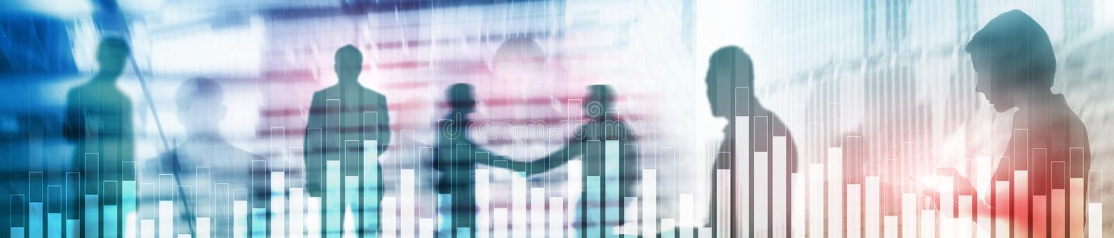 Business and finance graph on blurred background. Trading, investment and economics concept. Website header banner. Business and finance graph on blurred stock image