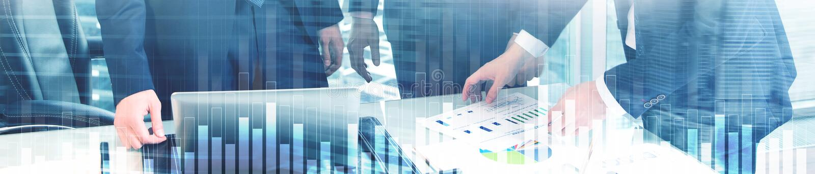 Business and finance graph on blurred background. Trading, investment and economics concept. Website header banner stock photo