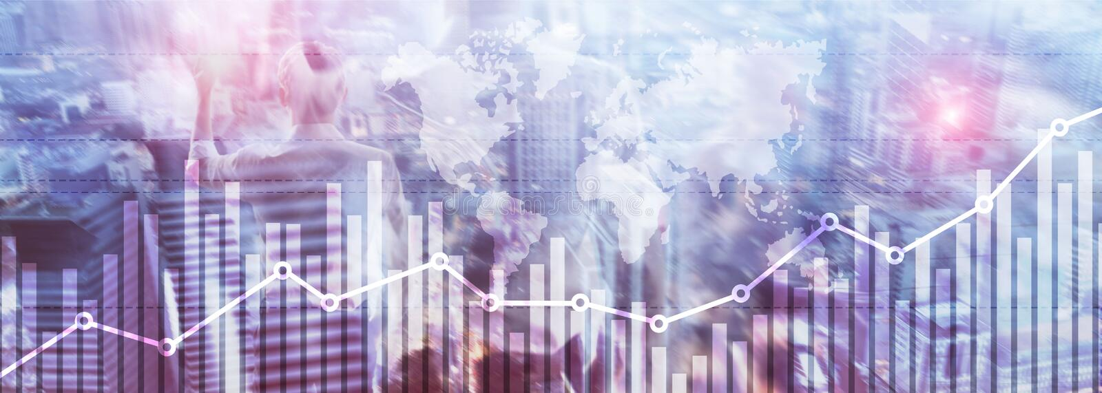 Business finance growth graph chart analysing diagram trading and forex exchange concept double exposure mixed media background. Website header vector illustration