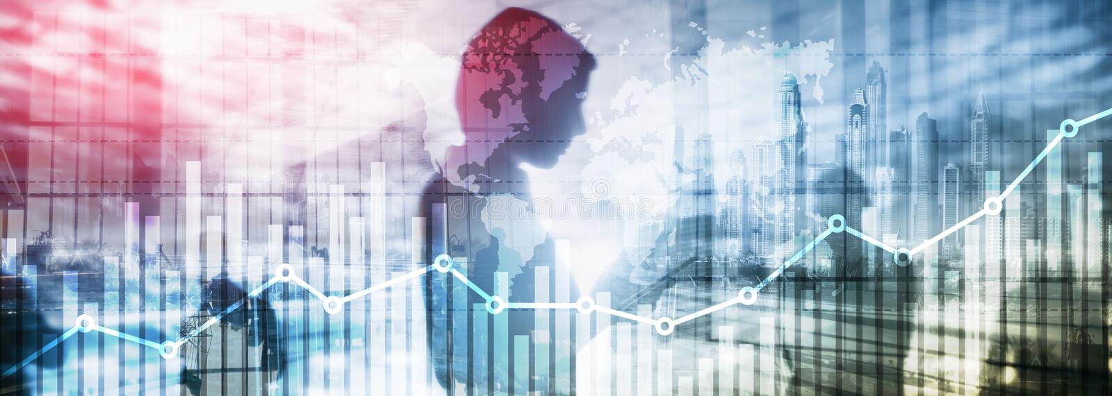 Business finance growth graph chart analysing diagram trading and forex exchange concept double exposure mixed media background. Website header stock illustration