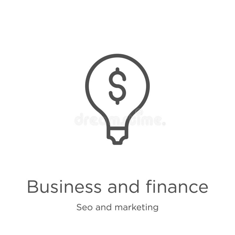 Business and finance icon vector from seo and marketing collection. Thin line business and finance outline icon vector. Business and finance icon. Element of seo vector illustration