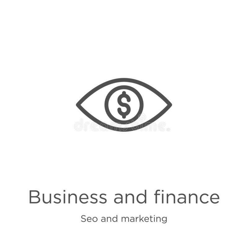 Business and finance icon vector from seo and marketing collection. Thin line business and finance outline icon vector. Business and finance icon. Element of seo royalty free illustration