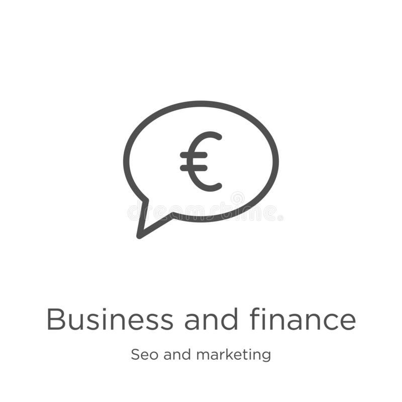 Business and finance icon vector from seo and marketing collection. Thin line business and finance outline icon vector. Business and finance icon. Element of seo stock illustration
