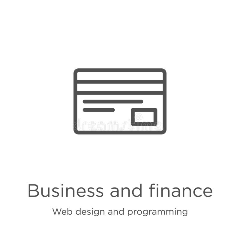 Business and finance icon vector from web design and programming collection. Thin line business and finance outline icon vector. Business and finance icon stock illustration