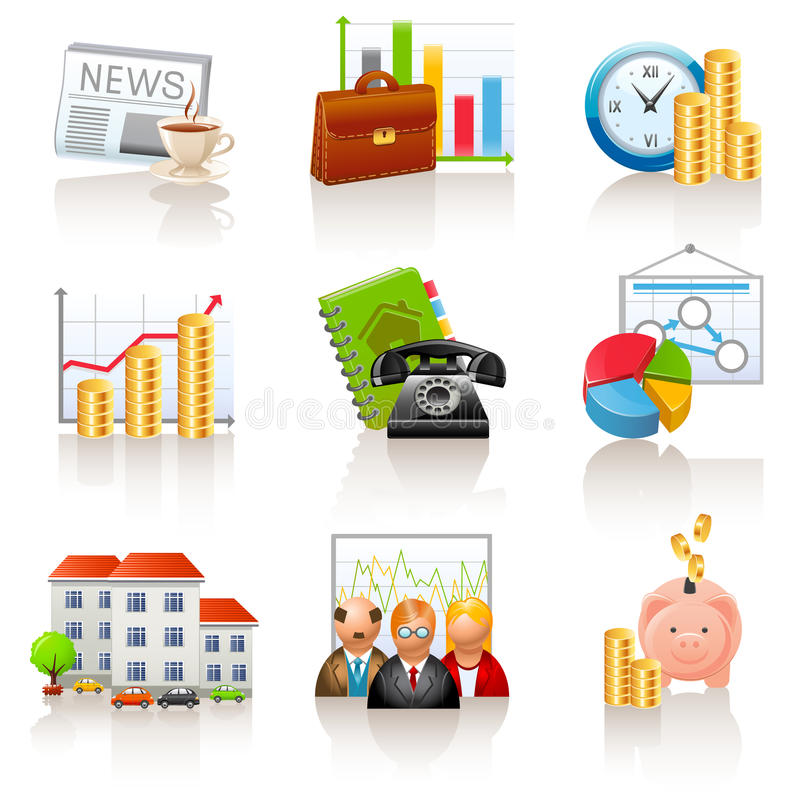 Business and finance icons. Set of 9 business and finance icons