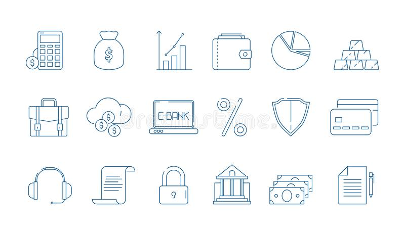 Business finance icons. Banking law global economy financial bank vector line symbols isolated royalty free illustration