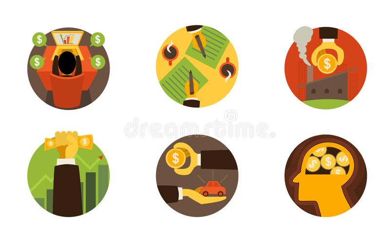 Business finance icons on white set 2. Vector illustration royalty free stock photo