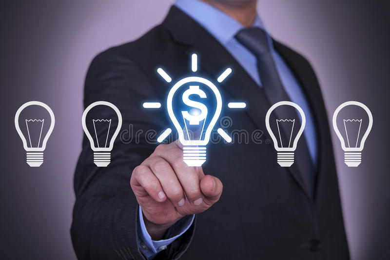 Business Finance Idea Light Bulb. Working with virtual screen touch internet royalty free stock photos