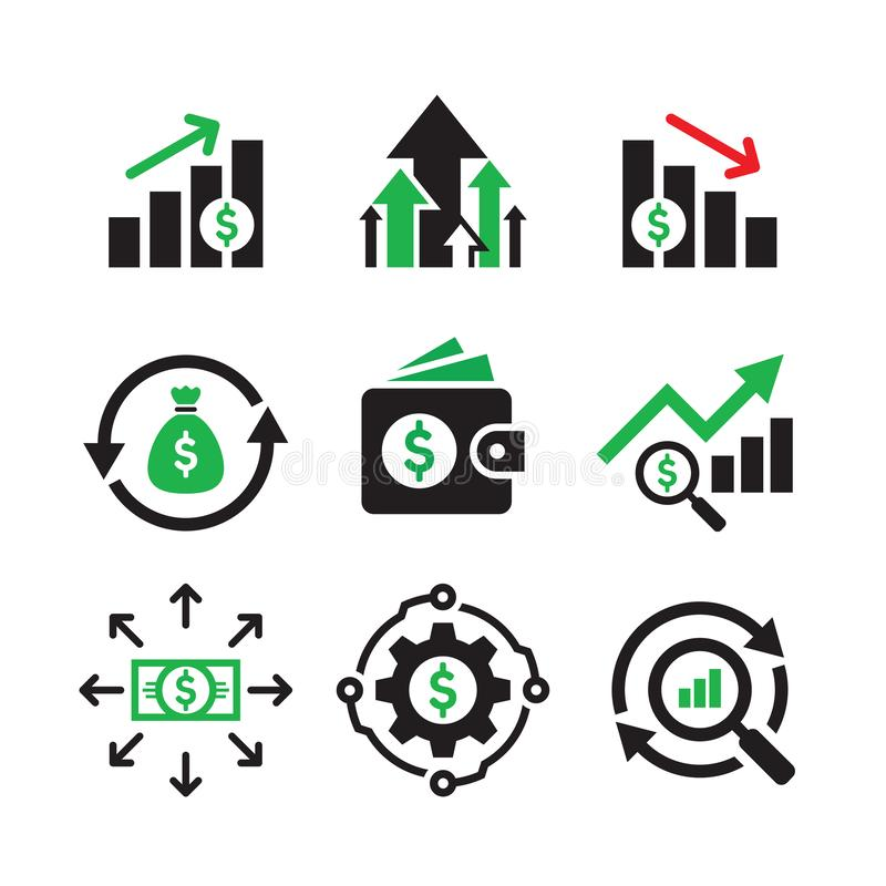 Business finance investment - concept web icons set. Infographic exchange market symbols. Monay dollar signs. Graphic design eleme. Nts royalty free illustration