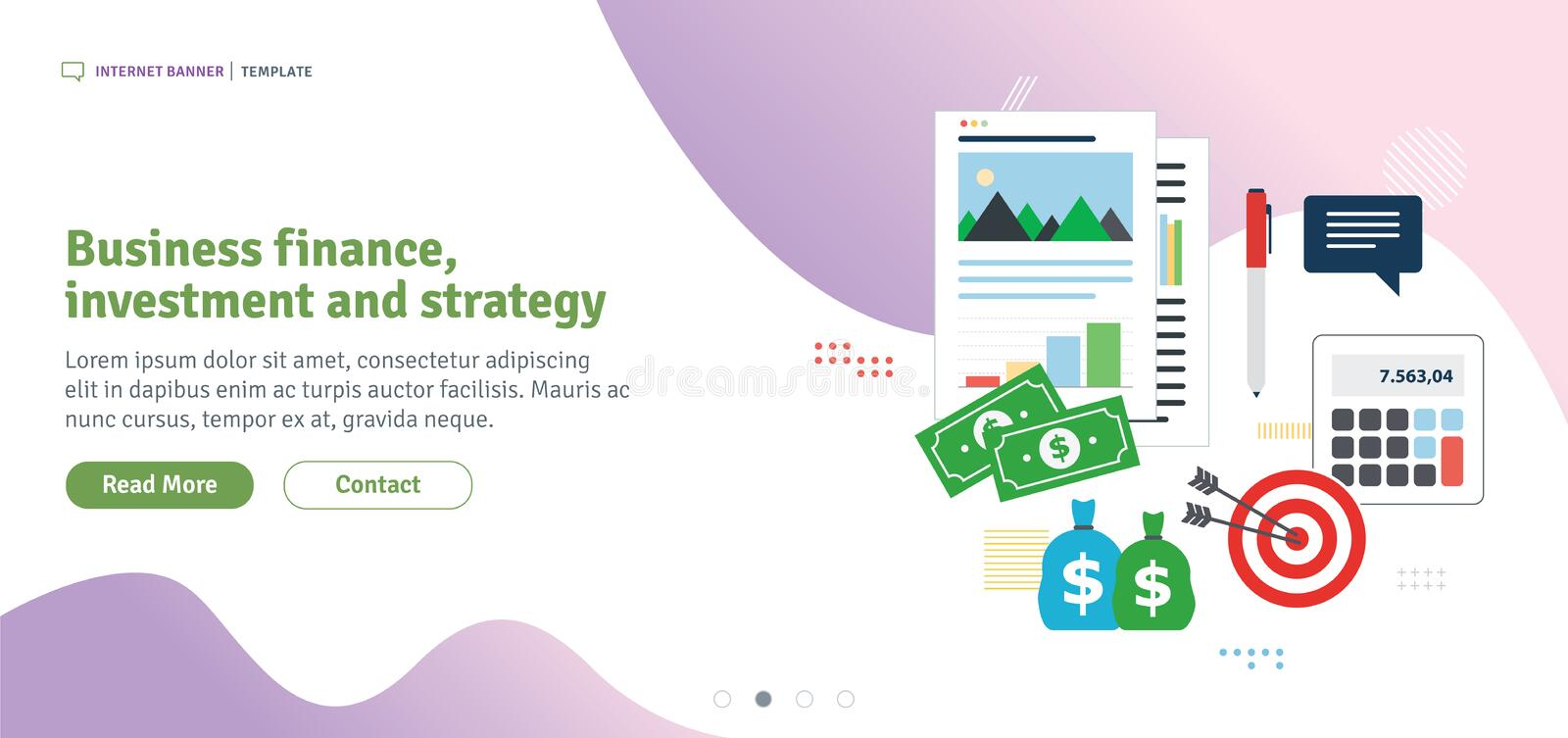 Business finance, investment and strategy. Financial chart of growth and profits, investment flow and success in business. Template in flat design for web royalty free illustration