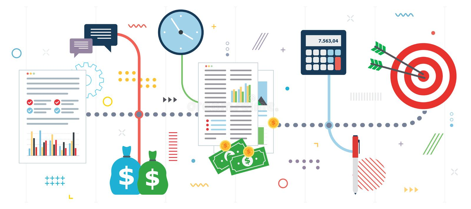 Business finance, investment and strategy icon set. Business finance, investment and strategy. Financial chart of growth and profits, investment flow and success vector illustration