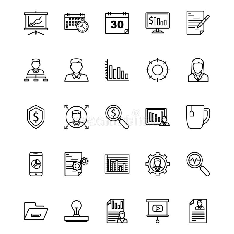Business and Finance Line Isolated Vector Icons Set that can be easily modified or edited royalty free illustration
