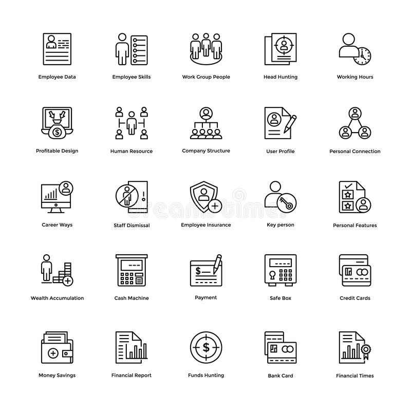 Business and Finance Line Vector Icons 4 stock illustration