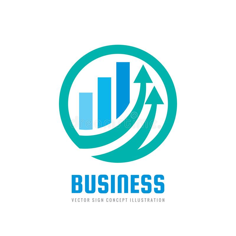 Business finance logo template - vector concept illustration. Economic infographic sign. Arrows and infograph bar. vector illustration